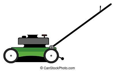 Cartoon Lawn Mower - Side view of a green cartoon lawn mower