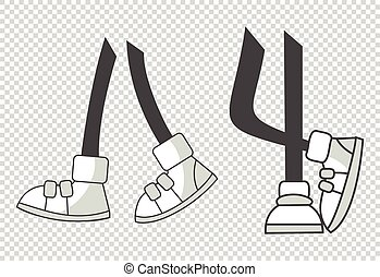 Cartoon legs. Vector walking feet in various positions. Legs in boots. Coloring vector isolated illustration