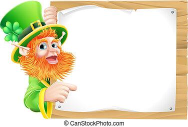 Cartoon leprachaun sign - Leprechaun cartoon character...