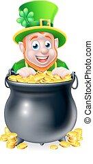 Cartoon Leprechaun and Pot of Gold - Leprechaun cartoon St...
