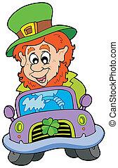 Cartoon leprechaun driving car
