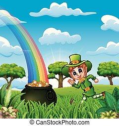 Cartoon leprechaun girl running near a pot of gold