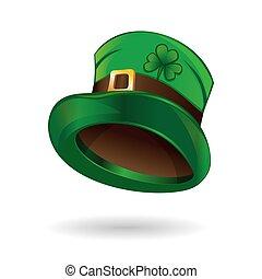 Leprechaun hat icon. Green leprechaun hat with gold buckle...