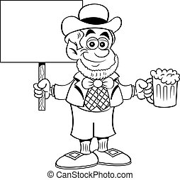 Cartoon leprechaun holding a beer and a sign.