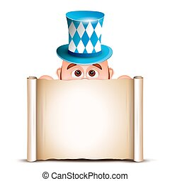 Cartoon Leprechaun in a bavarian hat. Card for Oktoberfest. Vect