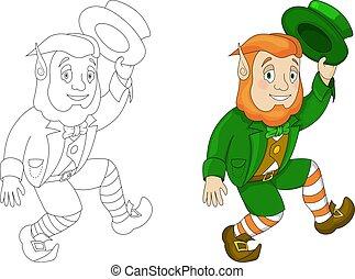 Cartoon Leprechaun in green frock coat and top hat dancing