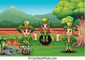 Cartoon leprechaun in the park for parade of Happy St. Patrick's Day celebration