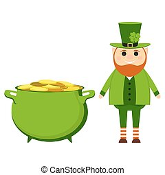Cartoon leprechaun on St. patrick s day with a pot of gold coins