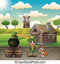 Cartoon leprechaun on the farm background with a dog