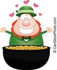 Cartoon Leprechaun Pot of Gold