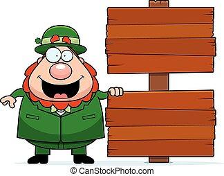 Cartoon Leprechaun Sign