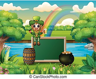 Cartoon leprechaun sitting above chalkboard with a nature landscape