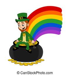 Cartoon leprechaun sitting on a pot - Illustration of a...