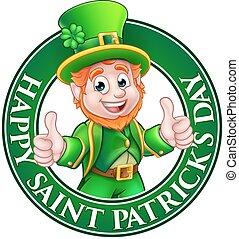 Cartoon Leprechaun St Patricks Day Sign - Cartoon Leprechaun...