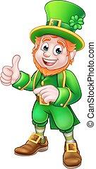 Cartoon Leprechaun St Patricks Day Character - Cartoon...