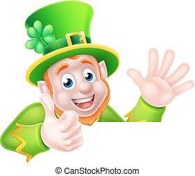 Cartoon Leprechaun Thumbs Up - Leprechaun cartoon St...