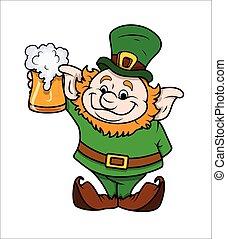Cartoon Leprechaun with Beer Glass