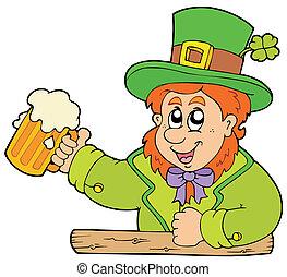 Cartoon leprechaun with beer - vector illustration.