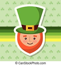 cartoon leprechaun with hat and beard clover background