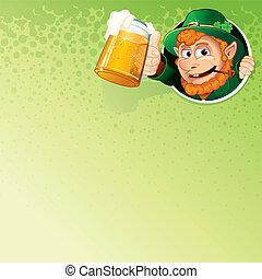 Cartoon Leprechaun with Mug of Ale. Vector Image