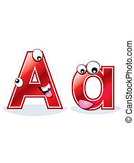 Cartoon letter Aa - A cartoon capital letter and lowercase...