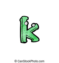 cartoon letter k with eyes