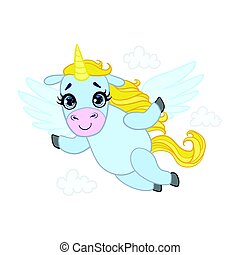 Cartoon light blue lovely flying unicorn. Colorful vector...