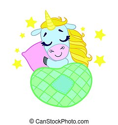 Cartoon light blue lovely sleeping unicorn. Colorful vector...