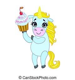 Cartoon light blue lovely unicorn holding cupcake. Colorful...