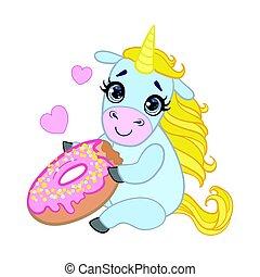 Cartoon light blue lovely unicorn holding pink glazed donut....