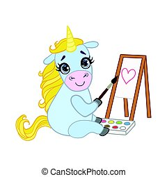 Cartoon light blue lovely unicorn painting on canvas....