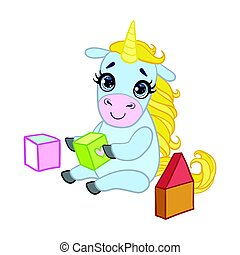 Cartoon light blue lovely unicorn playing with colored...