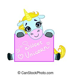 Cartoon light blue lovely unicorn seating with a greeting...