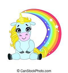 Cartoon light blue lovely unicorn sitting on a rainbow....