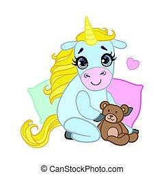 Cartoon light blue lovely unicorn sitting with a teddy bear....