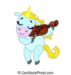 Cartoon light blue lovely unicorn violinist playing....