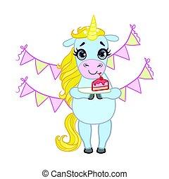 Cartoon light blue unicorn holding a plate with piece of...