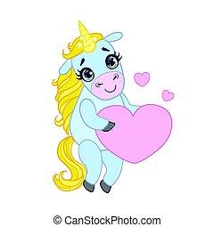 Cartoon light blue unicorn standing and holding pink heart....