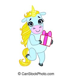 Cartoon light blue unicorn standing with gift box. Colorful vector character
