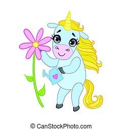 Cartoon light blue unicorn with flower. Colorful vector...