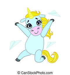 Cartoon light blue unicorn with paper planes. Colorful...