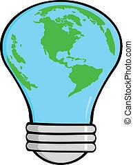 Cartoon Light Bulb Earth