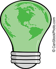Cartoon Light Bulb Green Earth