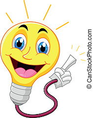 Cartoon light bulb pointing his fin - vector illustration of...