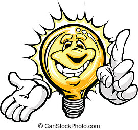 Cartoon Light Bulb with Smiling Face and Hands with Bright Idea or energy savings