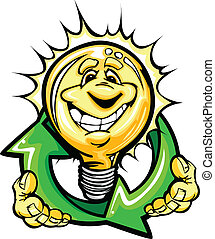 Cartoon Light Bulb with Smiling Face holiding recycling arrows for energy savings