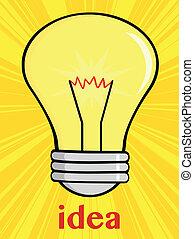 Cartoon Light Bulb With Text