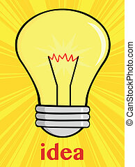 Cartoon Light Bulb With Text