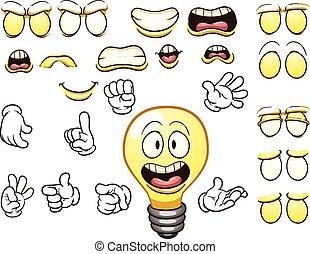 Cartoon lightbulb character. Vector clip art illustration...