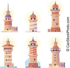 Cartoon lighthouse vector icons